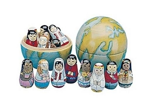 Wood Nesting Earth Globe w/ Multicultural Dolls Hand-Painted