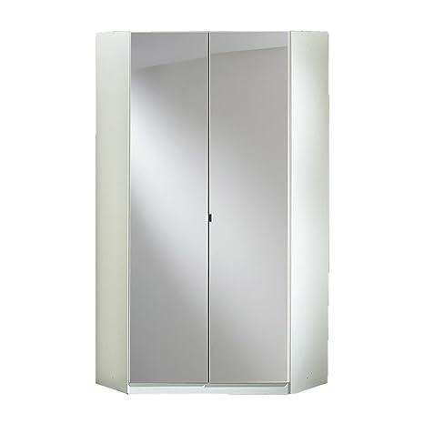 Wimex 243543 Clack Armoire d'Angle 2 Portes avec Miroir Bois Blanc/Laqué Blanc Cassé 95 x 95 x 198 cm