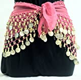 Pink Belly Dancing Skirt with Gold Coins, Dance Hip Scarf Wrap