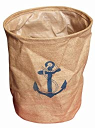 Nautical Themed Wet and Dry Jute Clothes Basket Storage Anchor Design 29x36cm