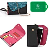 Safari Series wallet w/phone holder in Zebra Print PLUS accommodating wristlet strap and chain for cross body use in Black and Teal for Alcatel One Touch X'Pop