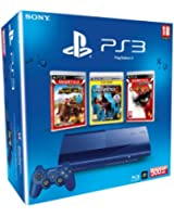 Console PS3 500 Go bleue + Motor Storm : Pacific Rift - essentials  + Uncharted 2 : among thieves -  platinum + God of War 3 - essentials