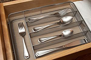 KD Organizers 5-Slot Mesh Drawer Organizer: Perfect kitchen flatware or cutlery tray, bathroom accessories holder, junk drawer dividers and more!