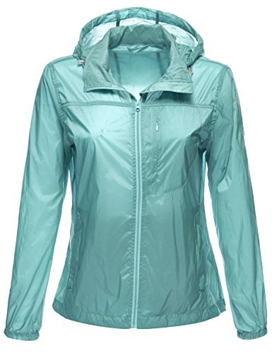 Packable Water Resistant Lightweight Rain Wind Jackets (Varsity Jacket Hooded Light Blue compare prices)