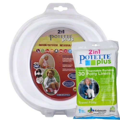 White Potette Plus Port-a-potty Training Potty Travel Toilet Seat - 2 in 1 Bundle with Potette Plus Liners - 30 Liners - 1