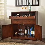 Transitional Cherry Multi Shelf Bar Buffet Unit. This Wine Cabinet Compliments Any Room In Your Home