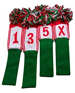 Spirit of Colors Knitted Head Covers, Flag Series Italian (Driver 460cc, 3 Wood, 5 and X Utility Clubs, Kelly Green/Red/White)