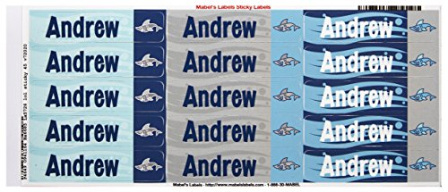 Mabel'S Labels 40845011 Peel And Stick Personalized Labels With The Name Andrew And Shark Icon, 45-Count front-574567
