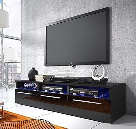 Muebles Bonitos - Mueble tv modelo dakar en color negro con led (1,5 m)