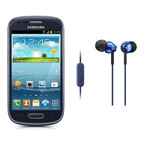 Samsung Galaxy S III Mini GT-I8190 8GB Unlocked GSM Phone (Blue) with Sony MDR EX110AP Blue Headphones with Mic Reviews