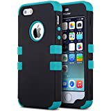 iPhone 5S Case, ULAK 3 in 1 Shield Case for iPhone 5s 5 Heavy Duty Hybrid 3 Layer Rugged Hard Cover Silicone Shell Inside Case (3 in 1 Shield-Black+Blue)