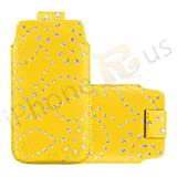 IPhone R Us® XL - Superior Glitter PU Soft Leather Pull Flip Tab Case Cover Pouch For Acer Liquid E2 -13 Colours To Pick From (Yellow)