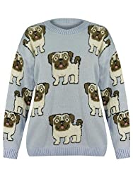 Womens Ladies Knitted Chunky Warm Multi Pug Dog Loose Oversized Baggy Jumper Top