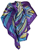 LibbySue-Quintessential Graphic Print Silk Blend Neckerchief Square Scarves