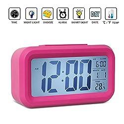 Alarm Clock,Noza Tec LED Desk Clock Slim Digital Alarm Clock Large Display Travel Alarm Clock (Battery Operated, Temperature Display, Snooze Function, Smart Back-light) - Pink