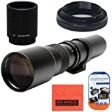 High-Power 500mm/1000mm f/8 Manual Telephoto Lens for Canon Digital EOS Rebel T1i, T2i, T3, T3i, T4i, T5i, SL1, EOS60D, EOS70D, 50D, 40D, 30D, EOS 5D, EOS1D, EOS5D III, EOS 6D, EOS 7D Digital SLR Cameras
