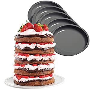 (Set/5) Easy Stacks Non-Stick 6 Inch Round Cake Pans - Make 5 Layers At Once
