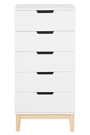 Kommode Skandinavisch Weiß Natur 50 x 40 x 105 cm mit 5 Schubladen Sideboard Schrank Hochschrank Weiß lackiert