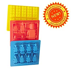 Candy Molds Lego Styled Minifigures Silicone Tray. Mold Chocolate, Ice Cubes, Jello, Crayons, Soap.