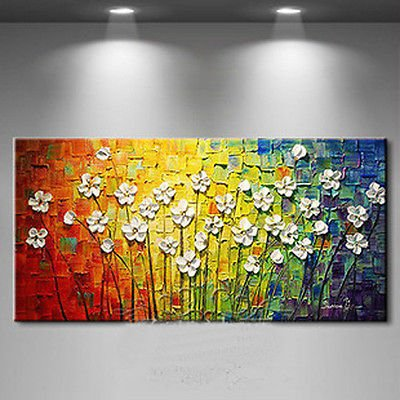 100% Hand-Painted Best-Selling Quality Goods Free Shipping Wood Framed On The Back Knife Painting Small Broken Flower High Q. Wall Decor Landscape Oil Painting On Canvas 4Pcs/Set Mixorde