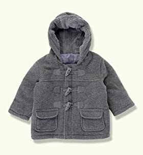 Hooded Faux Fur Trim Duffle Fleece Coat