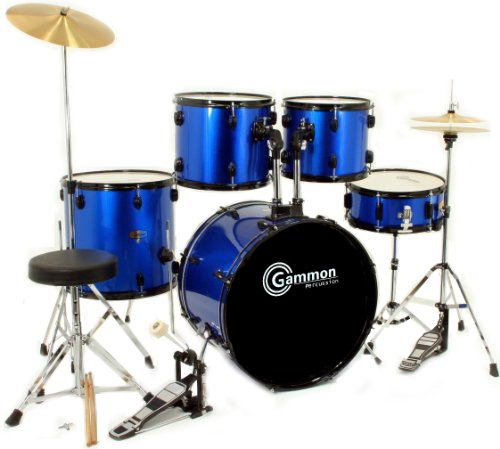 buy cheap new drum set full size 5 piece complete metallic blue with cymbals stands stool sticks. Black Bedroom Furniture Sets. Home Design Ideas
