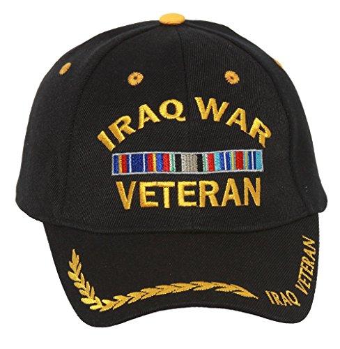 Military Iraq War Veteran with Ribbon Adjustable Hat - Black