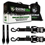 "RHINO USA Ratchet Straps Motorcycle Tie Down Kit, 5,208 Break Strength - Includes (2) Heavy Duty 1.6"" x 8' Rachet Tiedowns with Padded Handles & Coated Chromoly S Hooks + (2) Soft Loop Tie-Downs…"