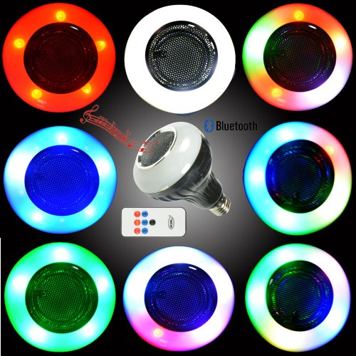 Wowtou(Tm) 3 In 1 Ezone E27 Base Bluetooth Speaker Led Stage Disco Party Light 5W Led White Lighting + 3W Colorful Mood Lighting With Built-In Bluetooth Speaker Music Player And Remote Controller
