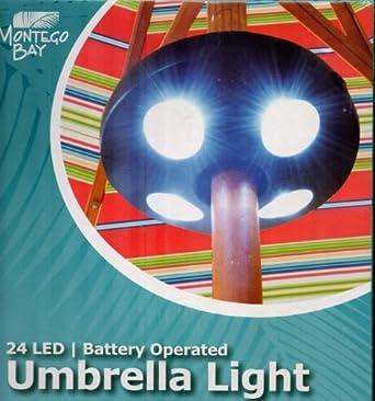 montego bay 24 led battery operated umbrella light patio. Black Bedroom Furniture Sets. Home Design Ideas