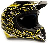 Adult Snocross Snowmobile Helmet & Goggle Combo - Yellow , Gloss Black ( XL )