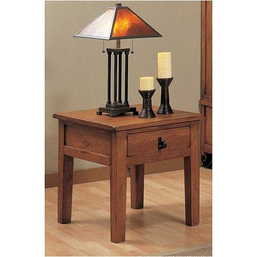 Cheap Distressed Oak End Table with Storage Drawer By Coaster Furniture (VF_700297)