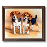 Baby Beagle Puppy Dogs Hunting Animal Wall Picture Brown Oak Framed Art Print
