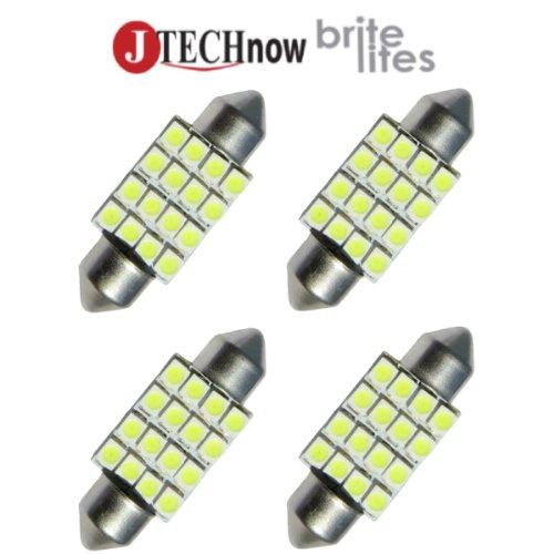 """Jtech 4X 36Mm(1.50"""") 16-Smd Dc 12V White Festoon Led Bulb 3021 De3021 6411 6413 6418 De3423 De3425"""