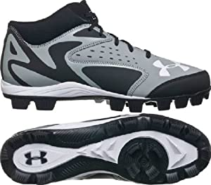 Buy Mens Under Armour Leadoff Mid RM Molded Baseball Cleats Baseball Grey Black by Under Armour