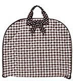 Quilted Gingham Checkered Print Garment Bag Travel Luggage Brown