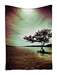 Tapestry Wall Hanging Lonely Tree Scene for Living Room Bedroom and Dorm Decor Accessories College List One of a Kind Machine Washable Shiny Silky Satin in Woodsy Wall Decor, Burgundy Green Brown