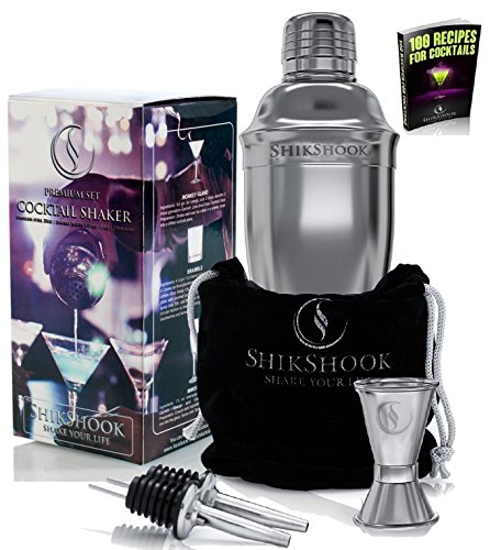 Cocktail Shaker Set - Professional Bartenders Kit in a Accessories Bag : Martini Mixer Bar Jigger 2 Liquor Pourers and ebook : 100 Bartender Drinks Recipes - Barware Tools Supplies by SHIKSHOOK (Box Wine Scotch Dishwasher Safe compare prices)