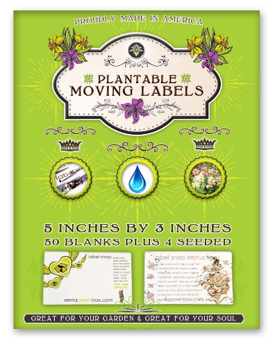 50 Extra Large, Removable And Easy To Read Moving Labels. Eco Friendly, Bio Degradable And You Can Plant These Labels To Grow Flowers After Your Move. Kids, Friends And Family Members Love Helping You Pack And Move With These Labels. Another Zero Waste Mo front-1029278
