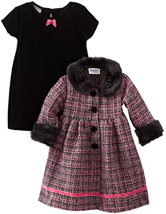Blueberi Boulevard Baby Girls Infant Boucle Coat Velvet Set, Multi, 24 Months