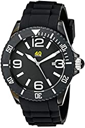 40Nine Unisex 40NINE02/BLACK3 Large 45mm Analog Display Japanese Quartz Black Watch