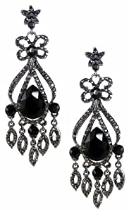 Elaborate Black & Grey crystal chandelier earrings-Dark Rhoduim-9cm long White gift box