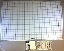 Portable Dry Erase Mat, White, 24 X 36, Double-sided with grid of 1 squares; includes 3 Markers a