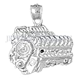 Necklace Obsession's Rhodium-plated 925 Silver 21mm Car Engine Pendant Necklace