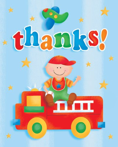 Creative Converting Fun at One Happy First Birthday Boy Thank You Notes, 8 Count - 1