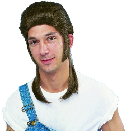 Mullet Wig (brown) Adult Halloween Costume Accessory