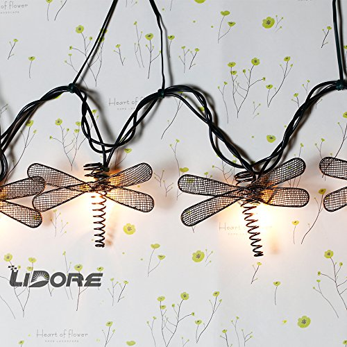 LIDORE Set of 10 Metal Dragonfly Patio String Light. Ideal For Indoor/Outdoor Decoration. Warm White Glow. 2