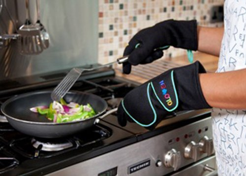 Awesome Grill & BBQ Oven Gloves Anti-Burn Flame And Heat & Flame Resistant Blue, Medium.