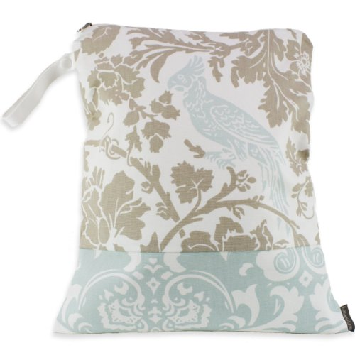 Logan + Lenora Waterproof Wet Bag 'Blue Tweet' Birds Medium