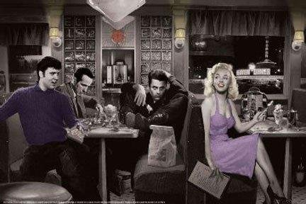 Blue Plate Diner with James Dean Marilyn Monroe Elvis Presley and Humphrey Bogart by Chris Consani 36x24 Art Print Poster Wall Decor Celebrity Movie Stars Eating at Diner Icons Hollywood Sassy Heaven Diner (James Dean Wall Decor compare prices)